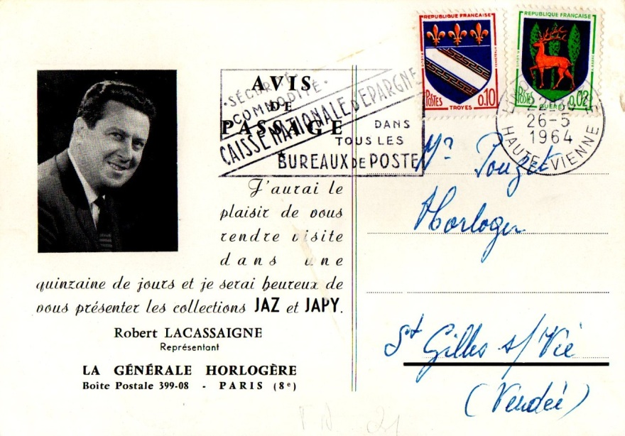 avis de passage 1964 recto