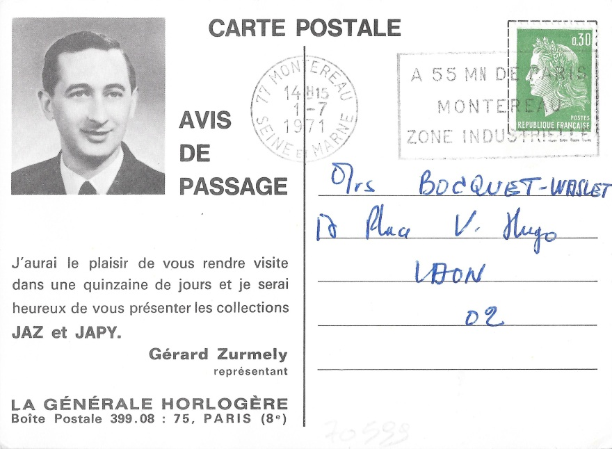 avis de passage 1971 recto