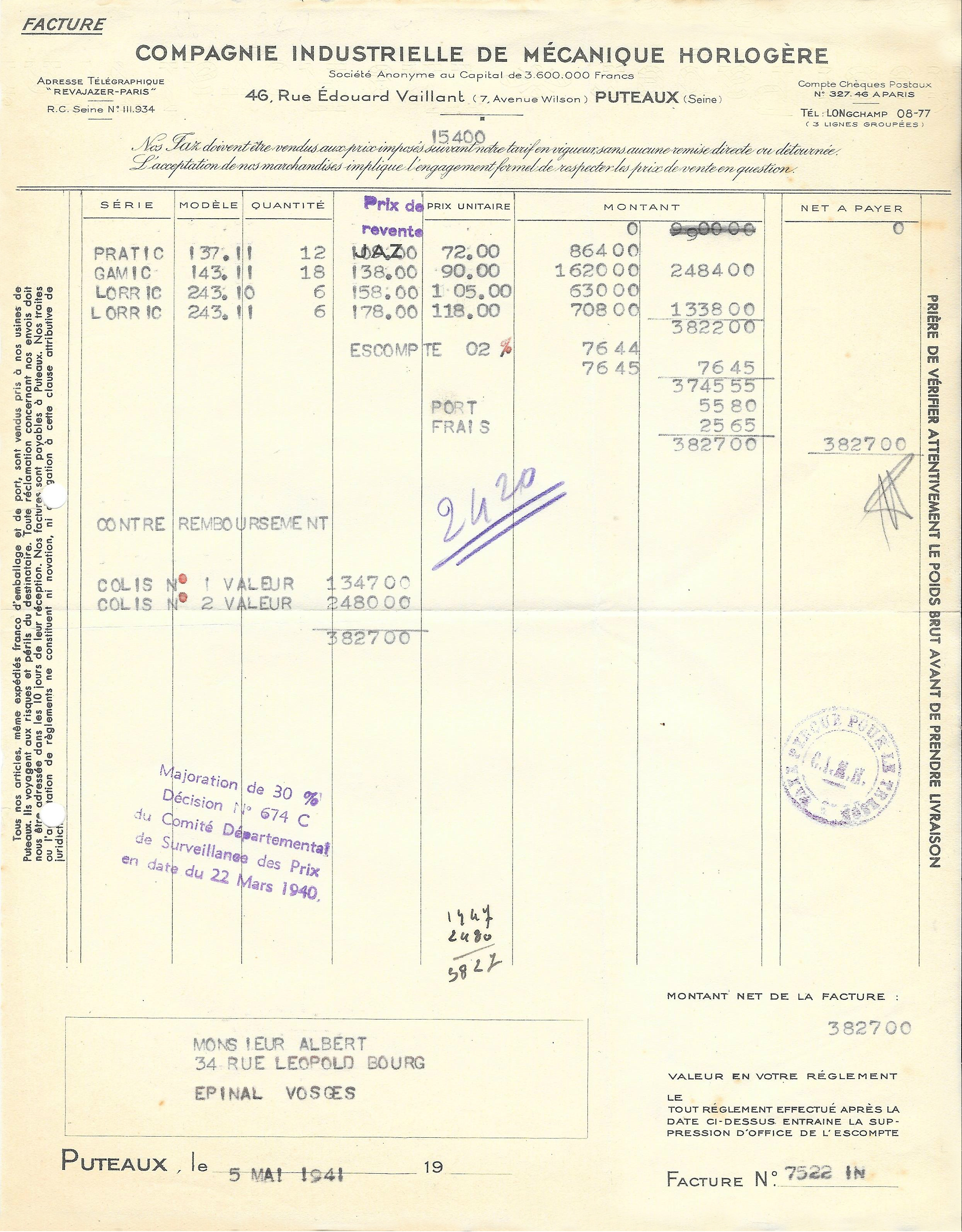 Jaz Facture 5 Mai 1941 PRATIC et LORRIC