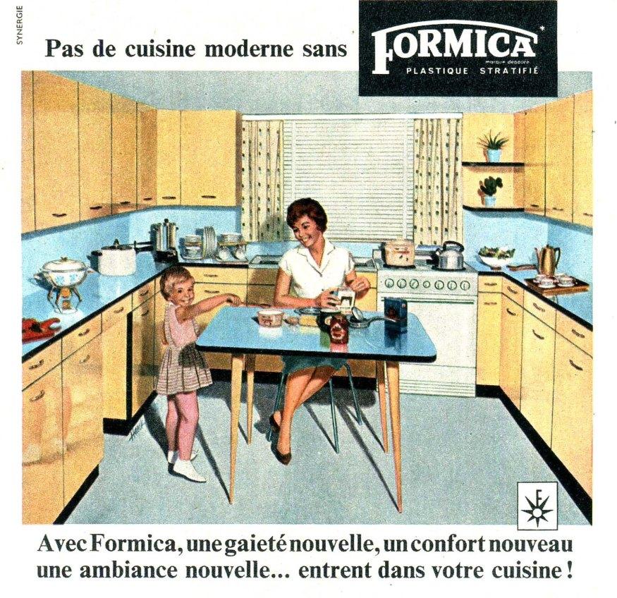 pas de cuisine moderne sans Formica réclame de 1959