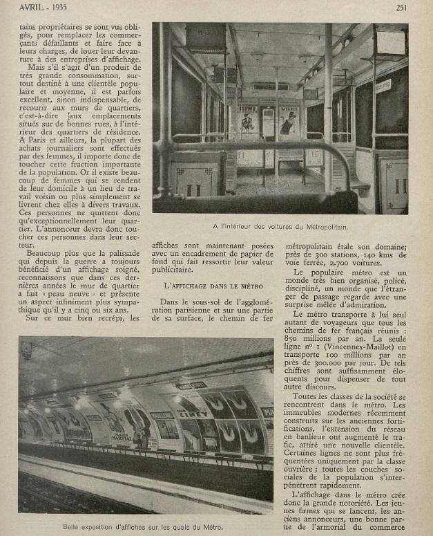 Métro Revue vendre Avril 1935 page 251