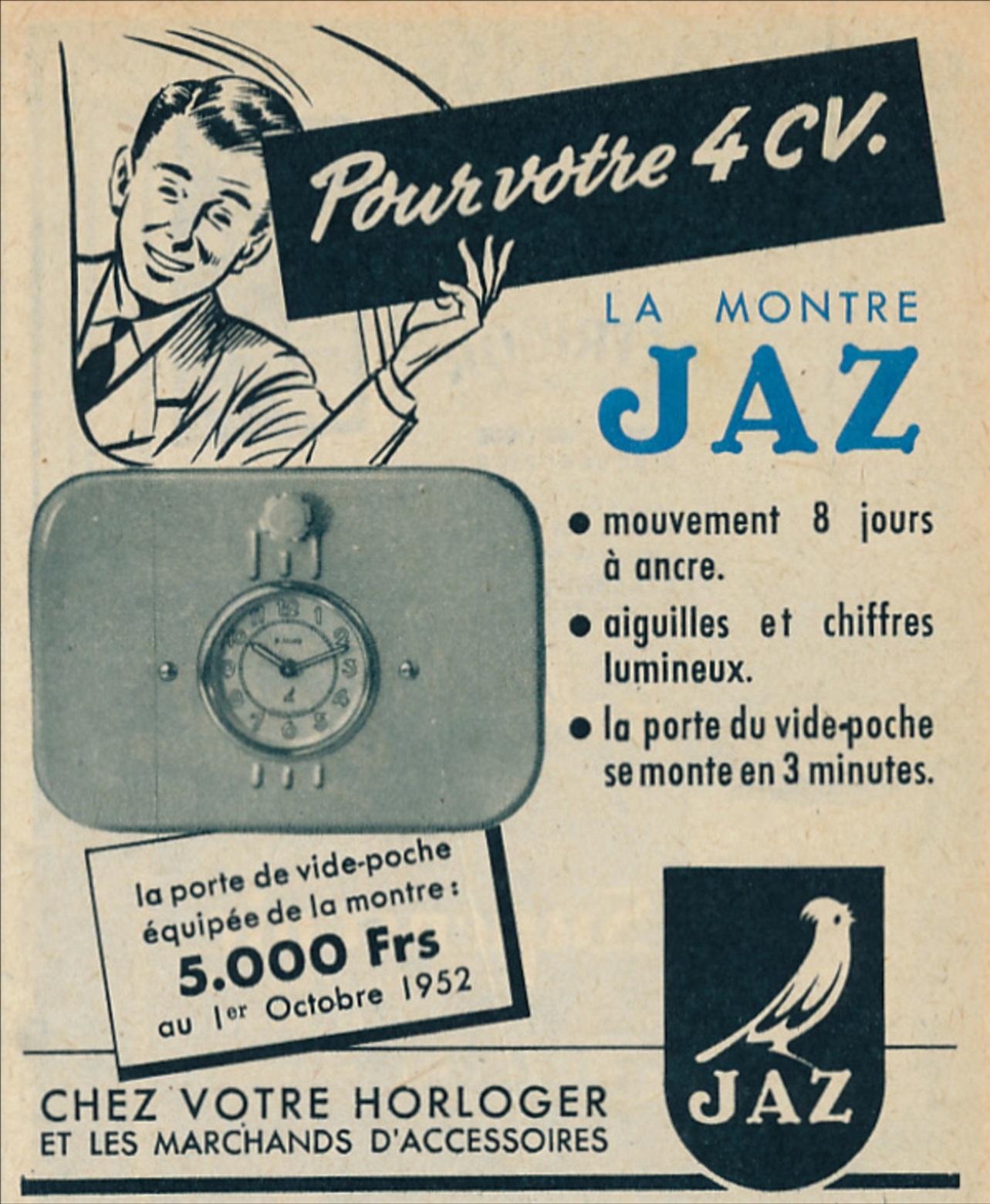 publicite-1952-montre-jaz-pour-votre-4-cv-la-porte-de-vide-poche-equipee-de-la-montre