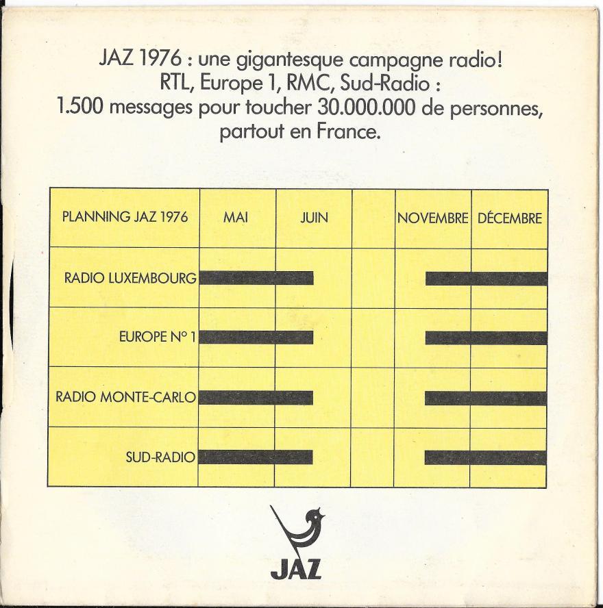Jaz disque souple 1976 recto