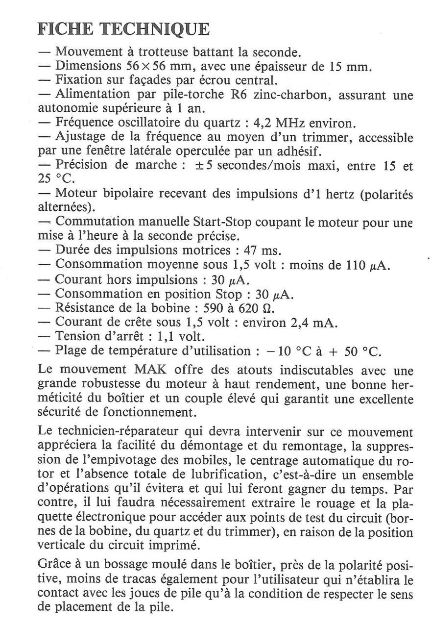 calibre MAK La France Horlogère n°375 Février 1977 page 62