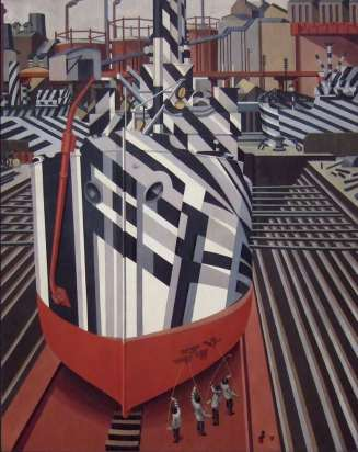 Dazzle ships in Drydock at Liverpool, by Edward Wadsworth, 1919
