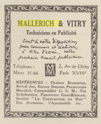 Mallerich & Vitry vendre 1925