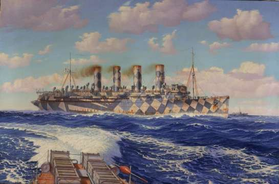 Mauretania in dazzle paint by Burnell Poole, 1919