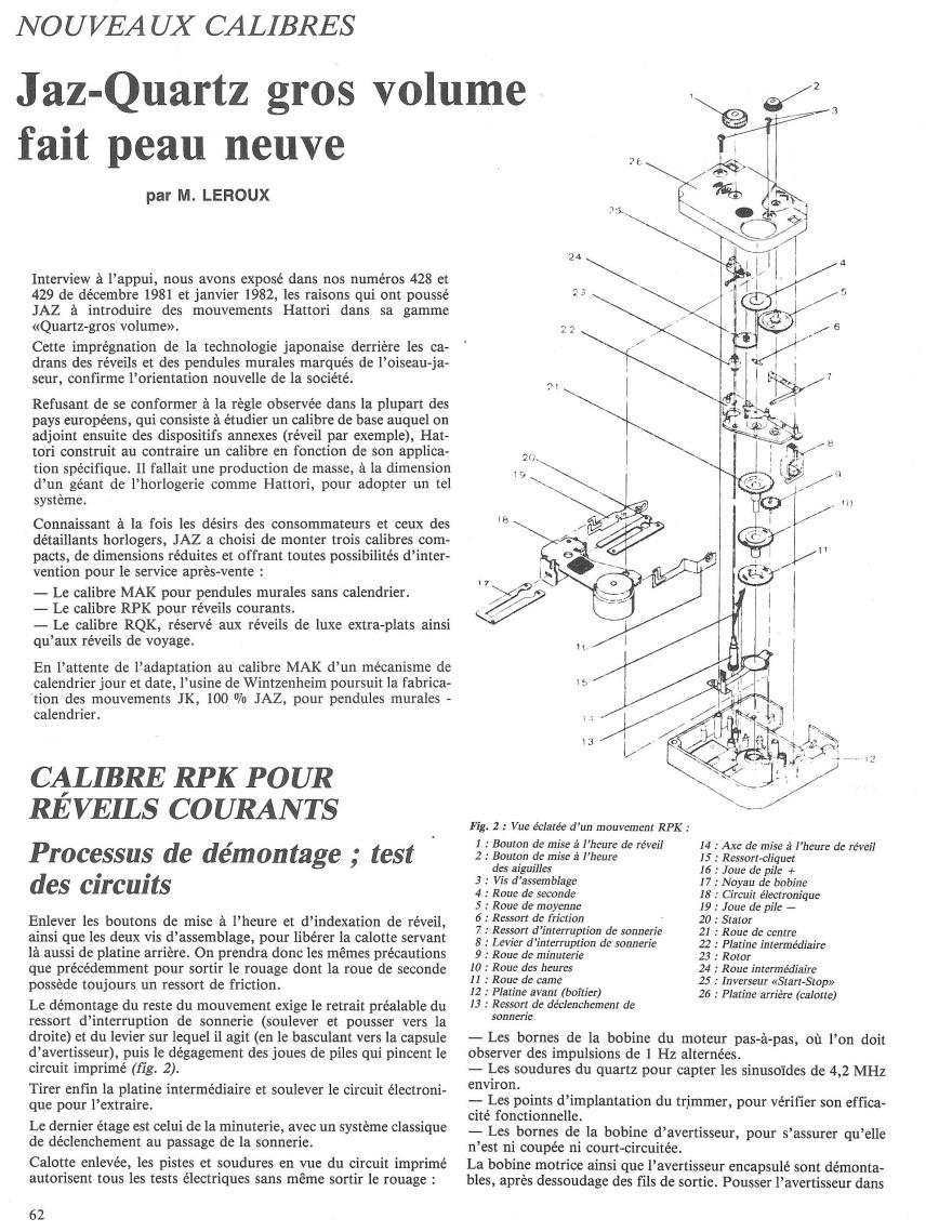 calibre RPK La France Horlogère n°375 Février 1977 page 61& 62 montage