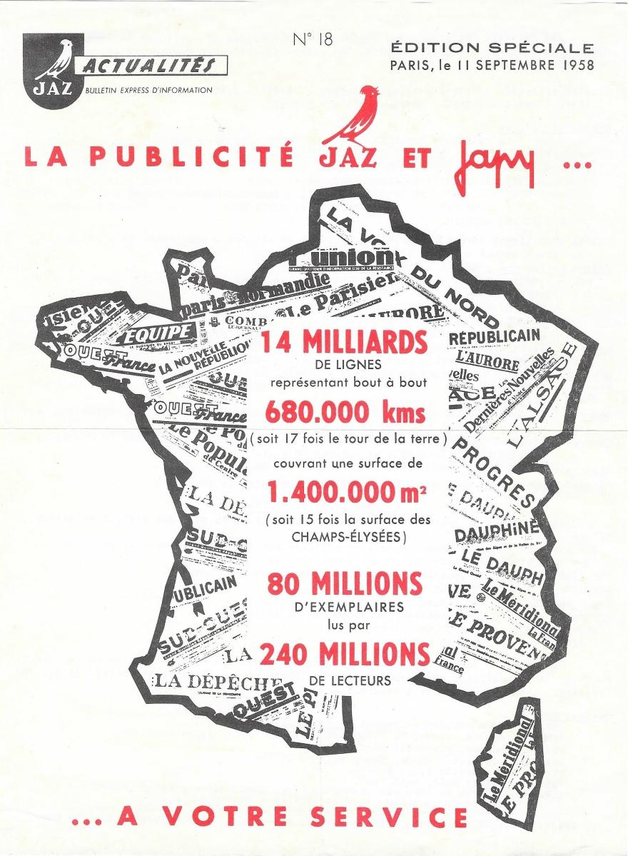 publicité Jaz actualités n°18 1958