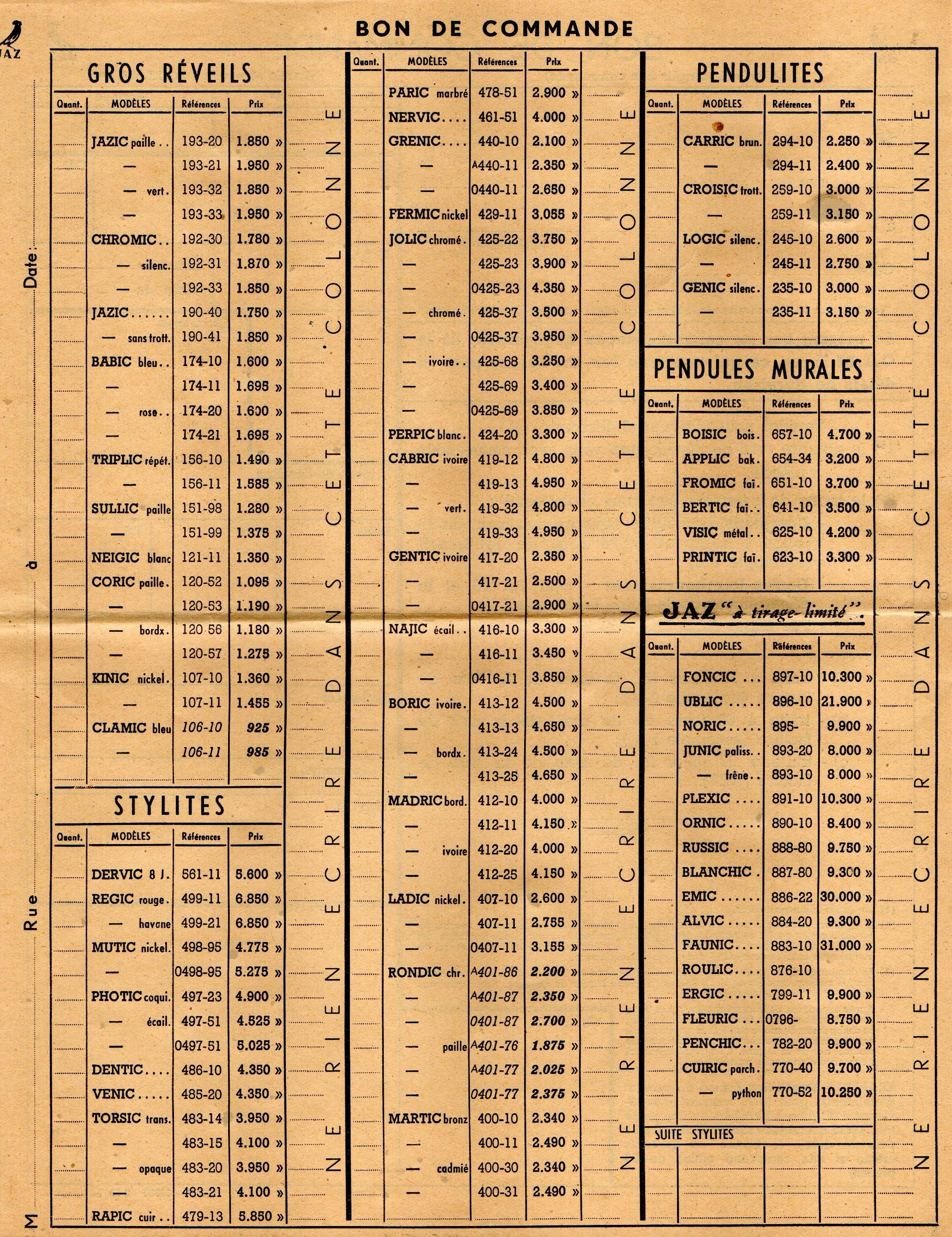 1950 bon de commande du tarif FA 50
