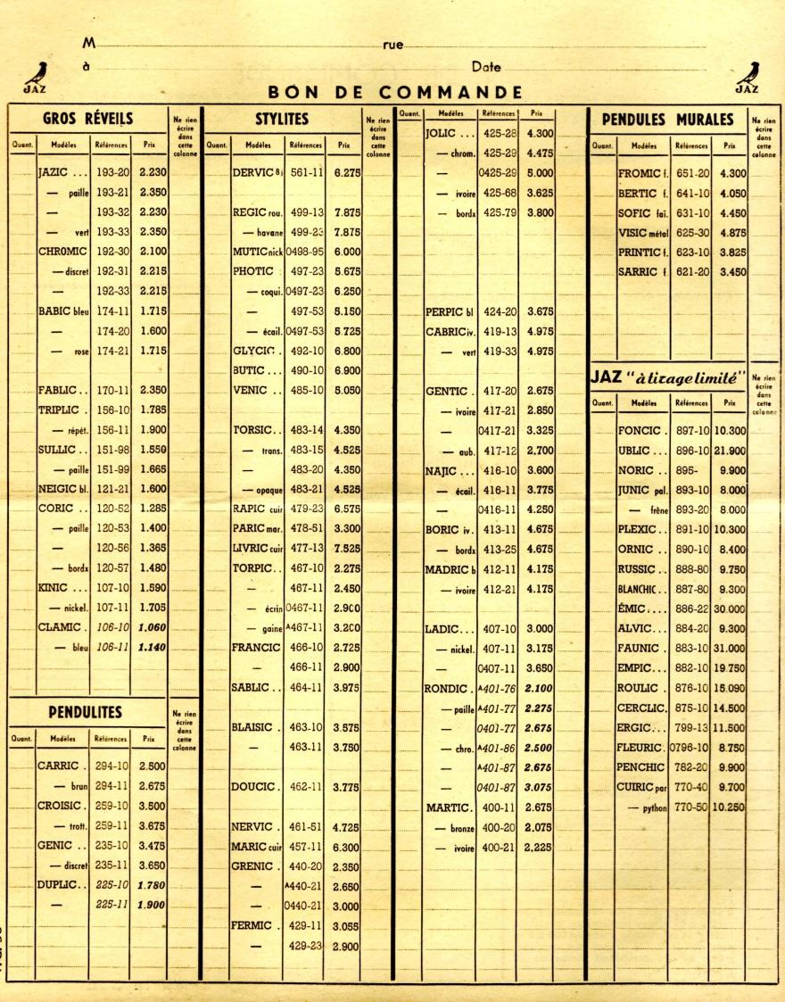 1950 bon de commande du tarif FC 50
