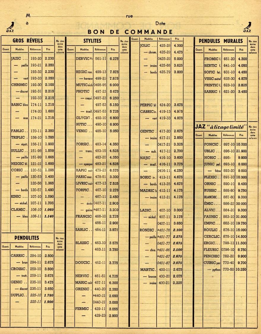1950 bon de commande tarif FA 50