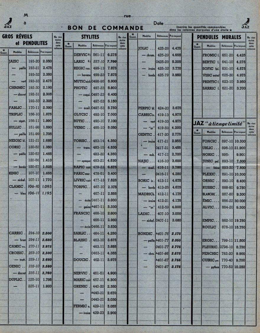 1951 bon de commande Fa 51 avril 1951