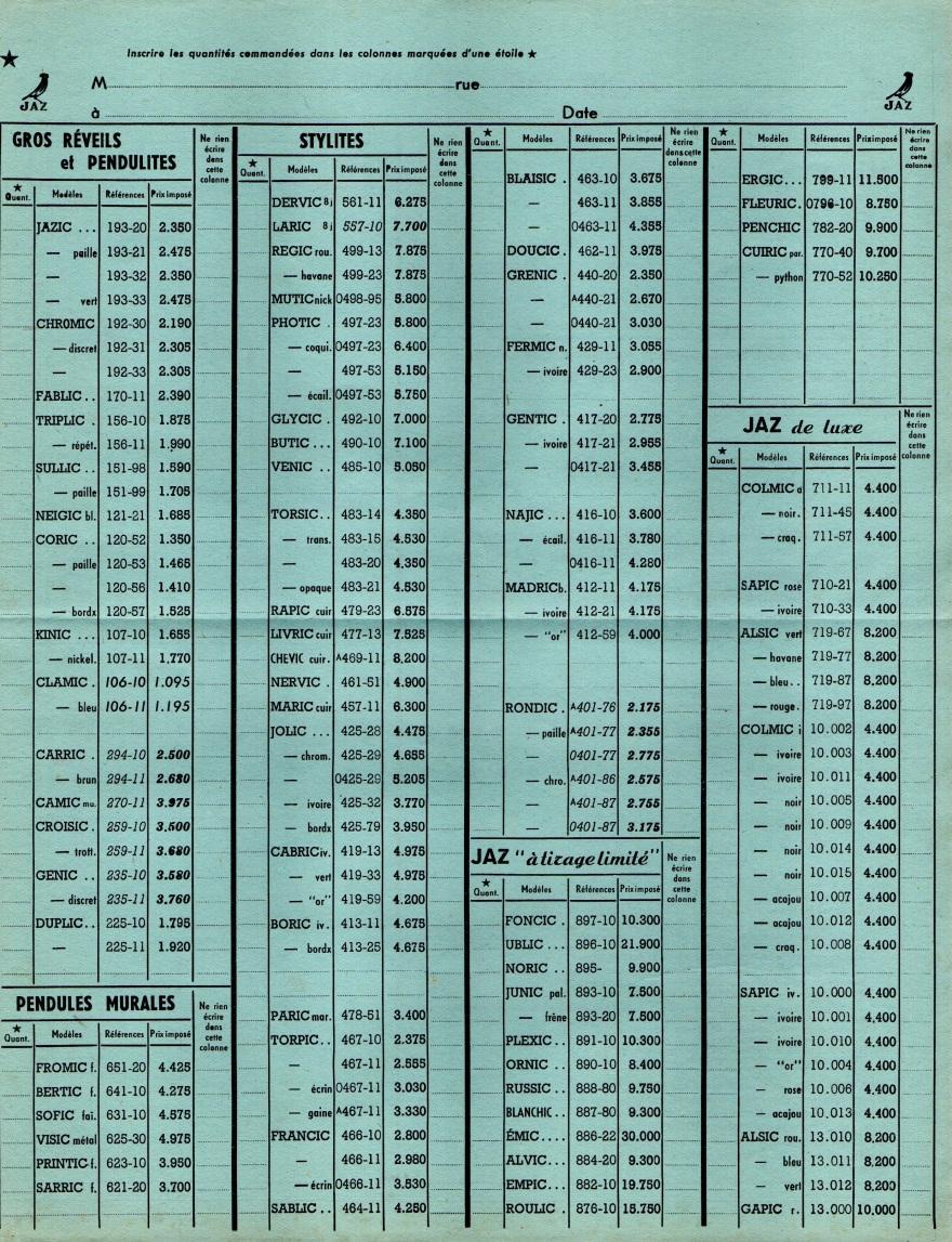 1951 bon de commande tarif FA 51 mai 1951
