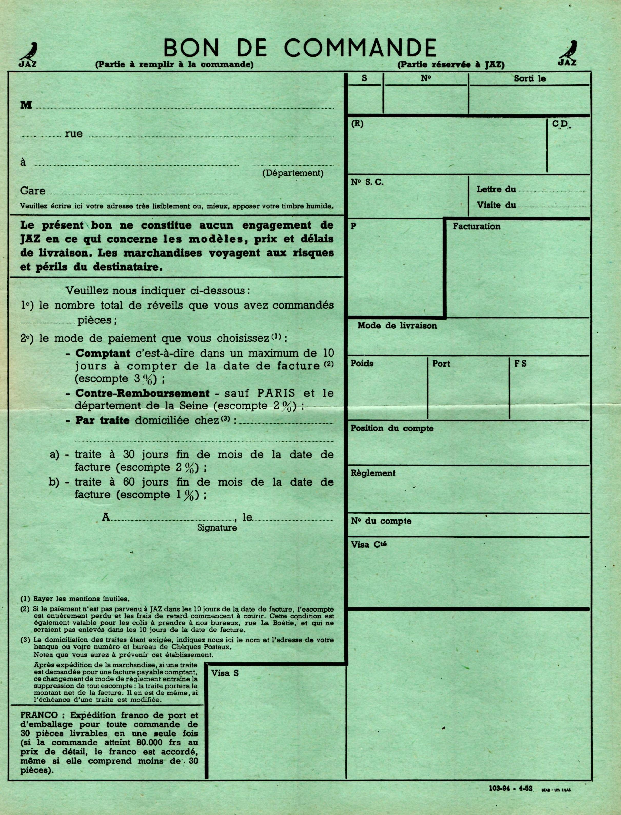1951 bon de commande tarif FC 51 avril 1952