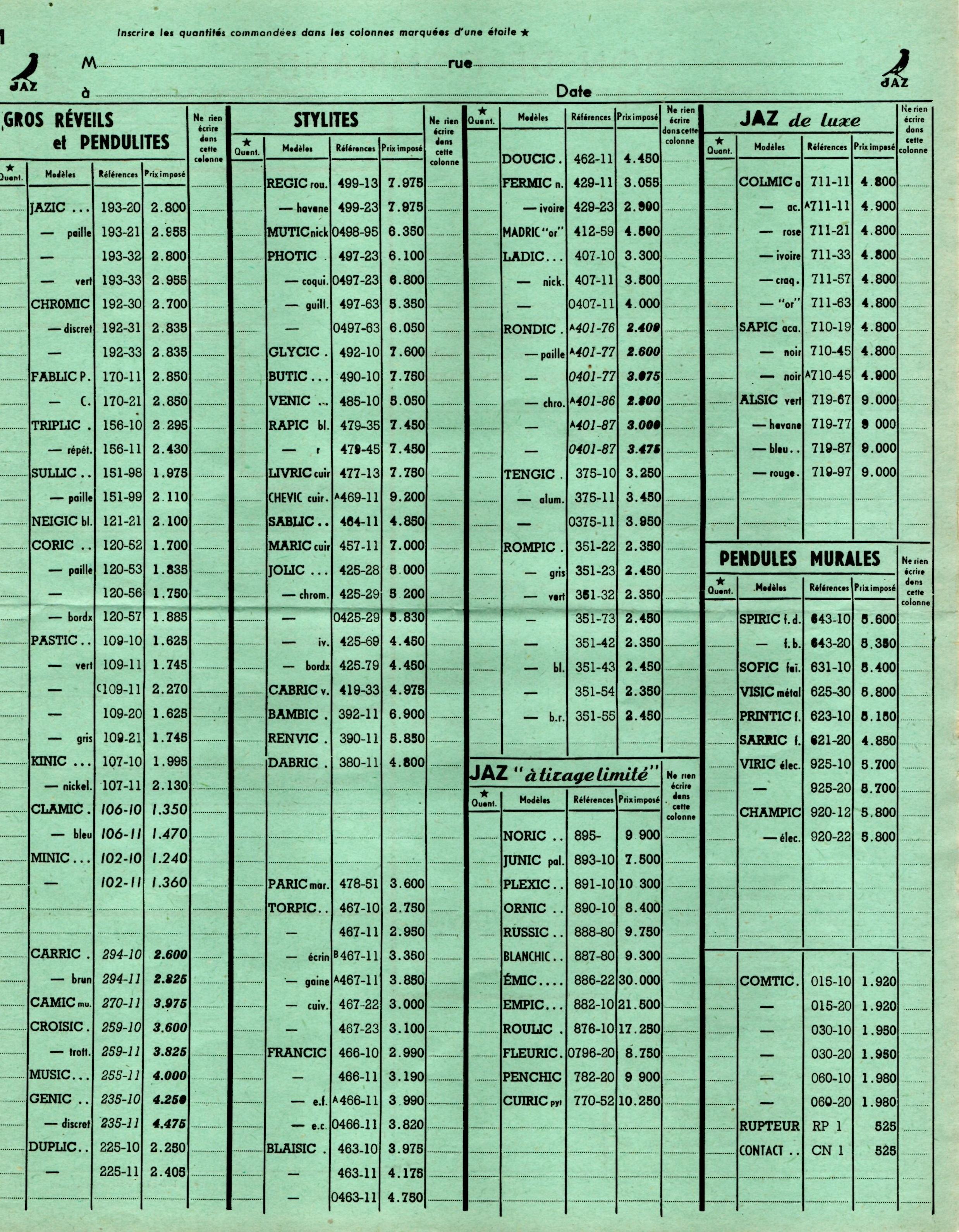 1951 bon de commande tarif FC 51 avril 1952 page m