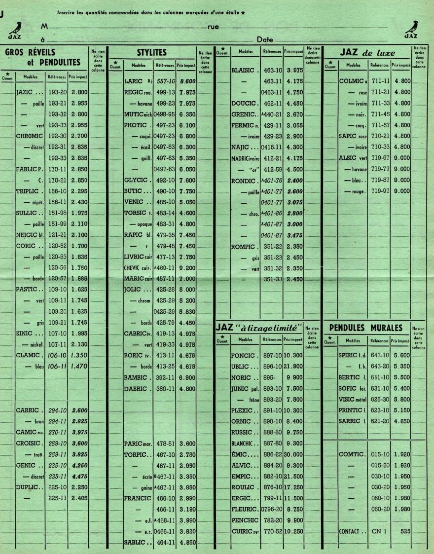 1951 bon de commande tarif FC 51 Novembre 1951 page 2
