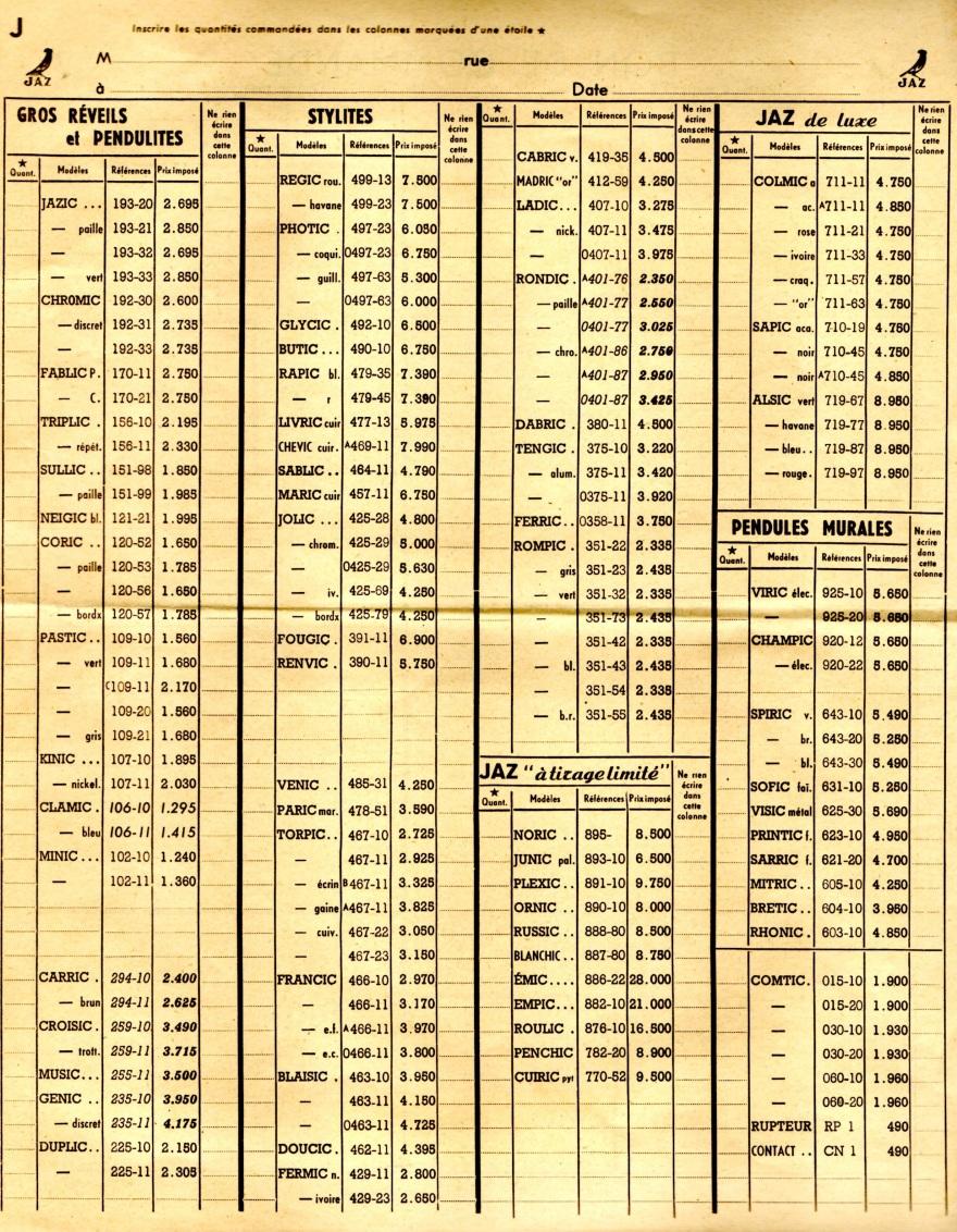 1952 bon de commande du tarif FA 1952 page J