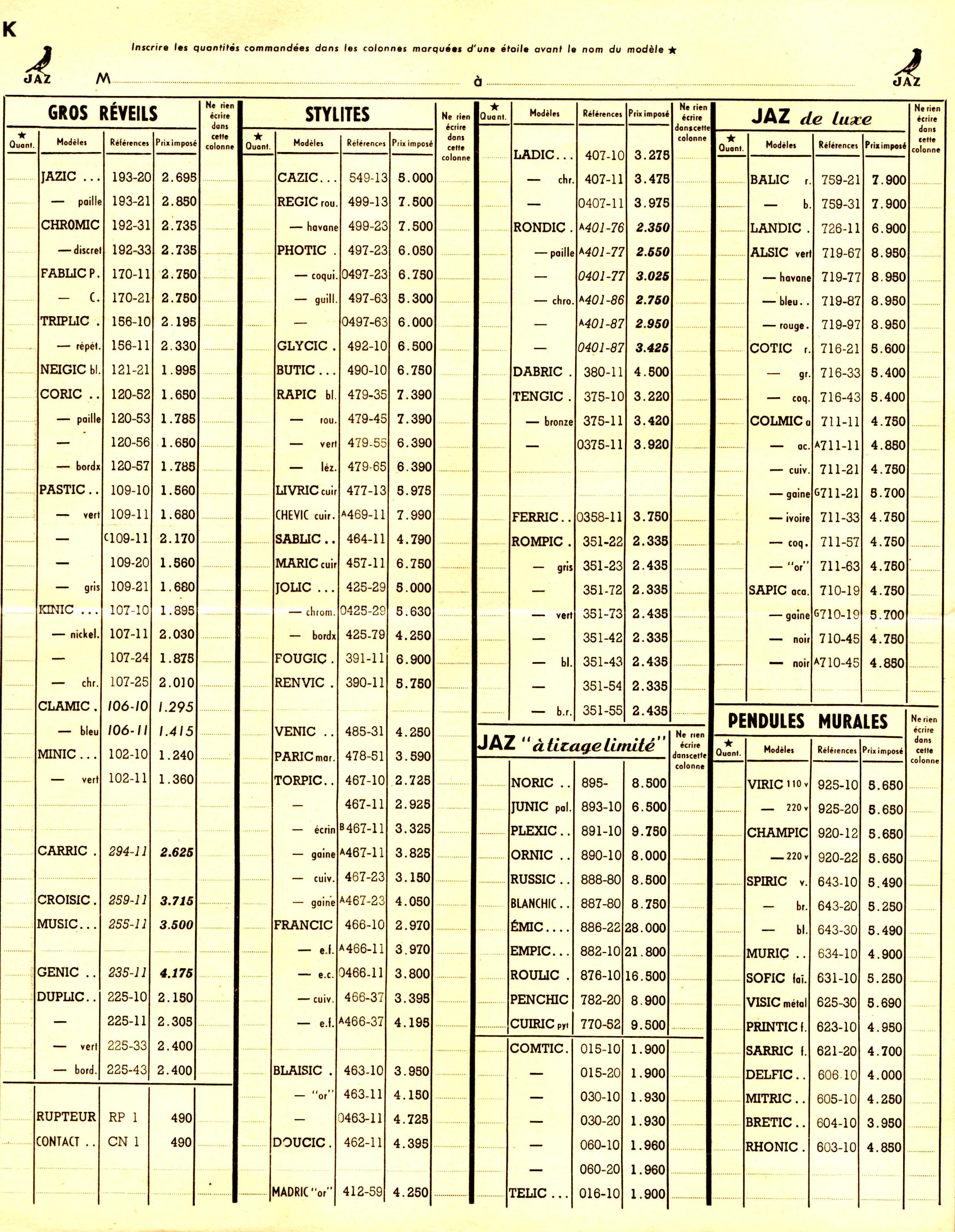 1952 bon de commande du tarif FA 1952 page K