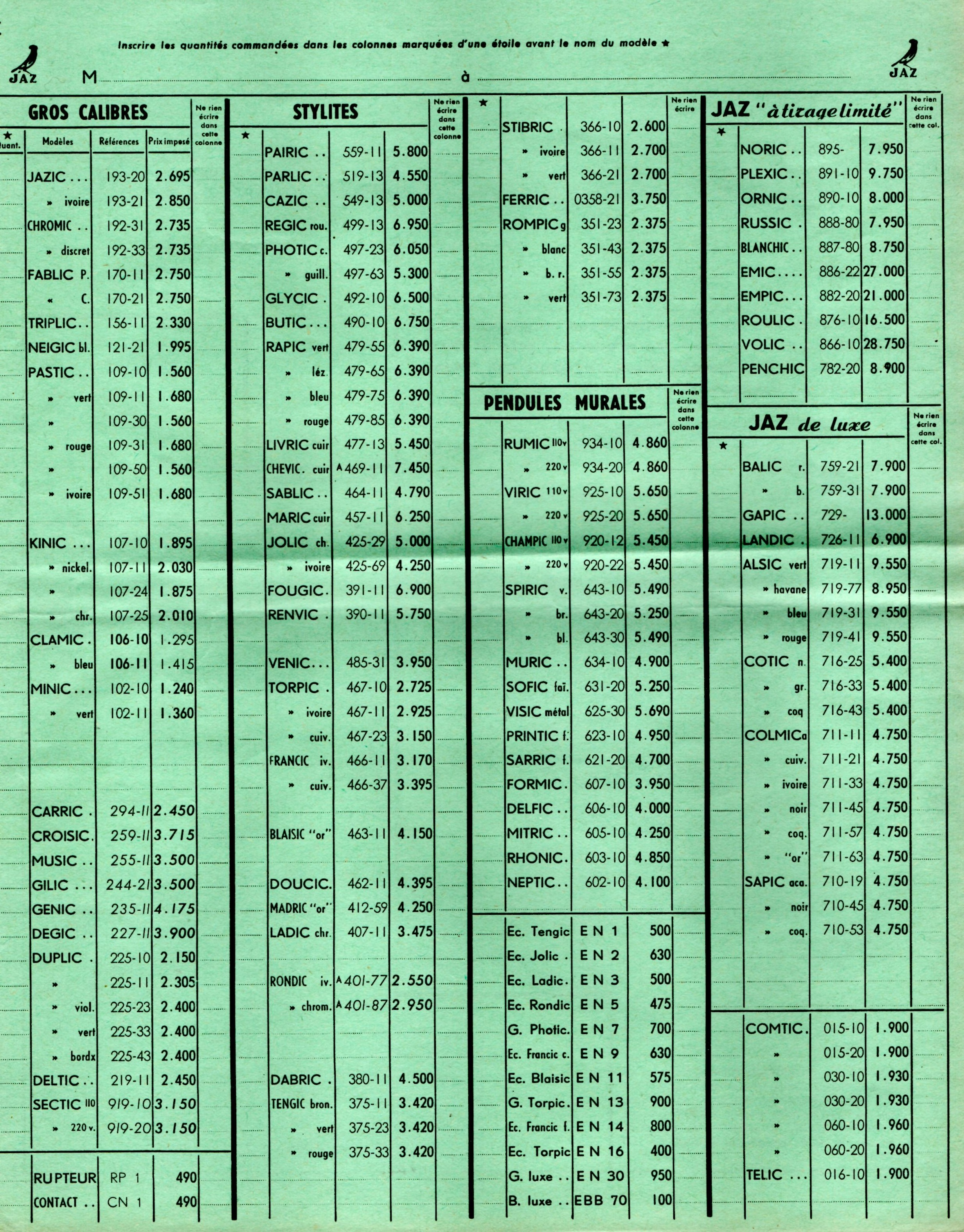 1953 bon de commande du tarif FA 1953 page C