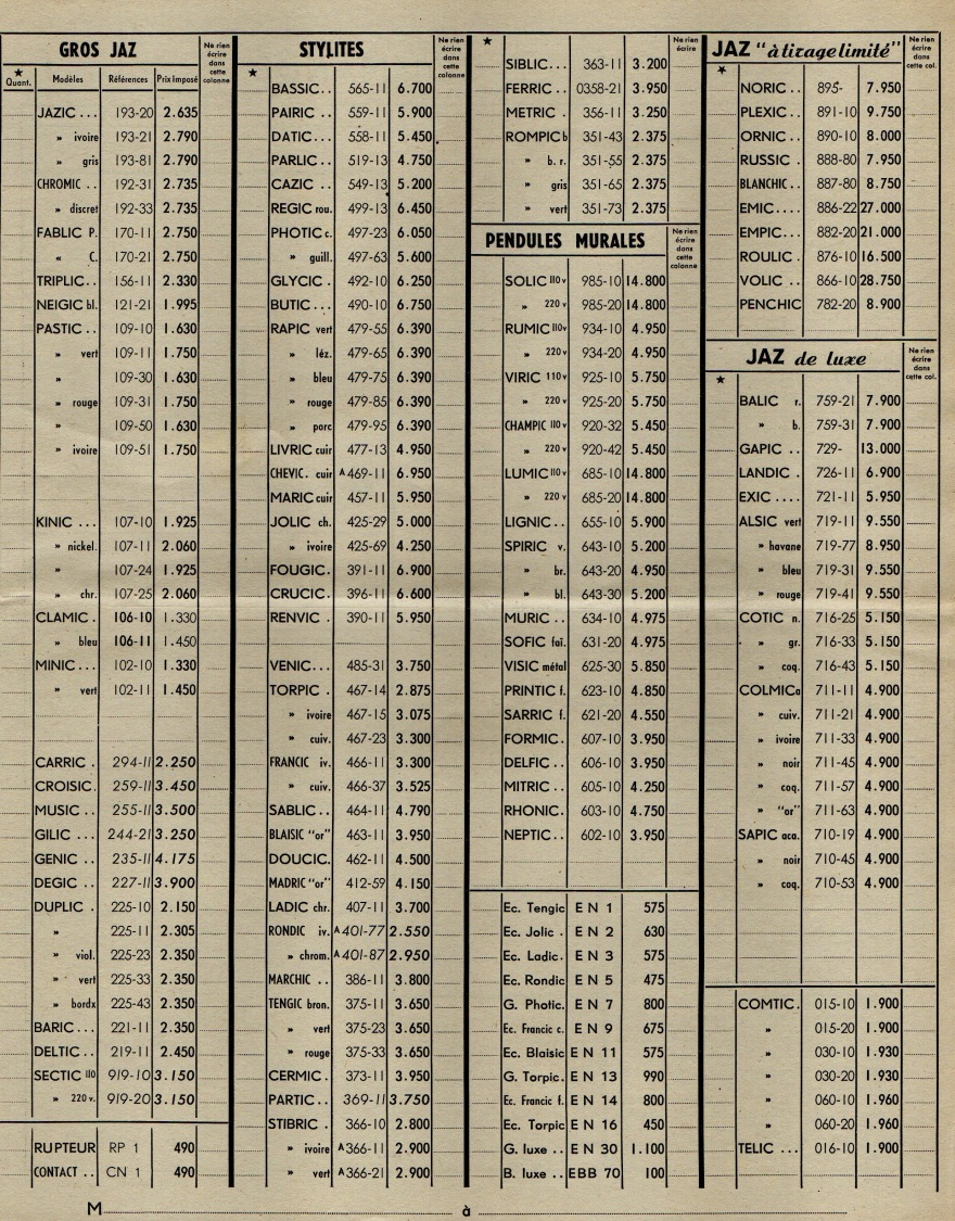 1953 bon de commande du tarif FB 53