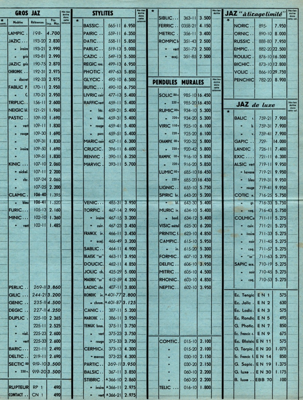 1953 bon de commande du tarif FC 53 novembre 1953 page j
