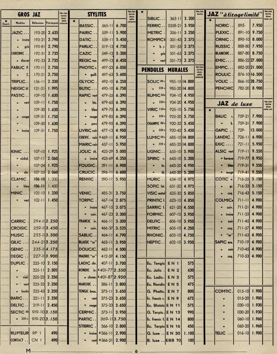 1953 bon de commande tarif FB 53