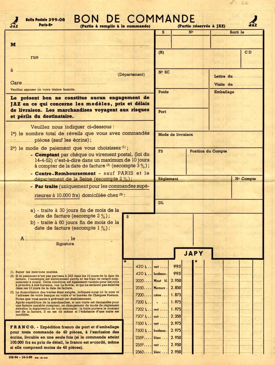 1954 bon de commande du tarif FA 54 février 1955