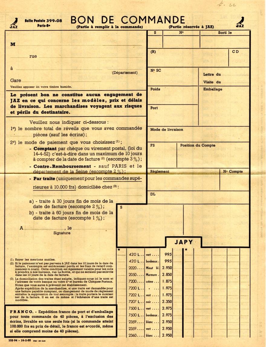 1954 bon de commande du tarif FA 54 février 1955 jpg