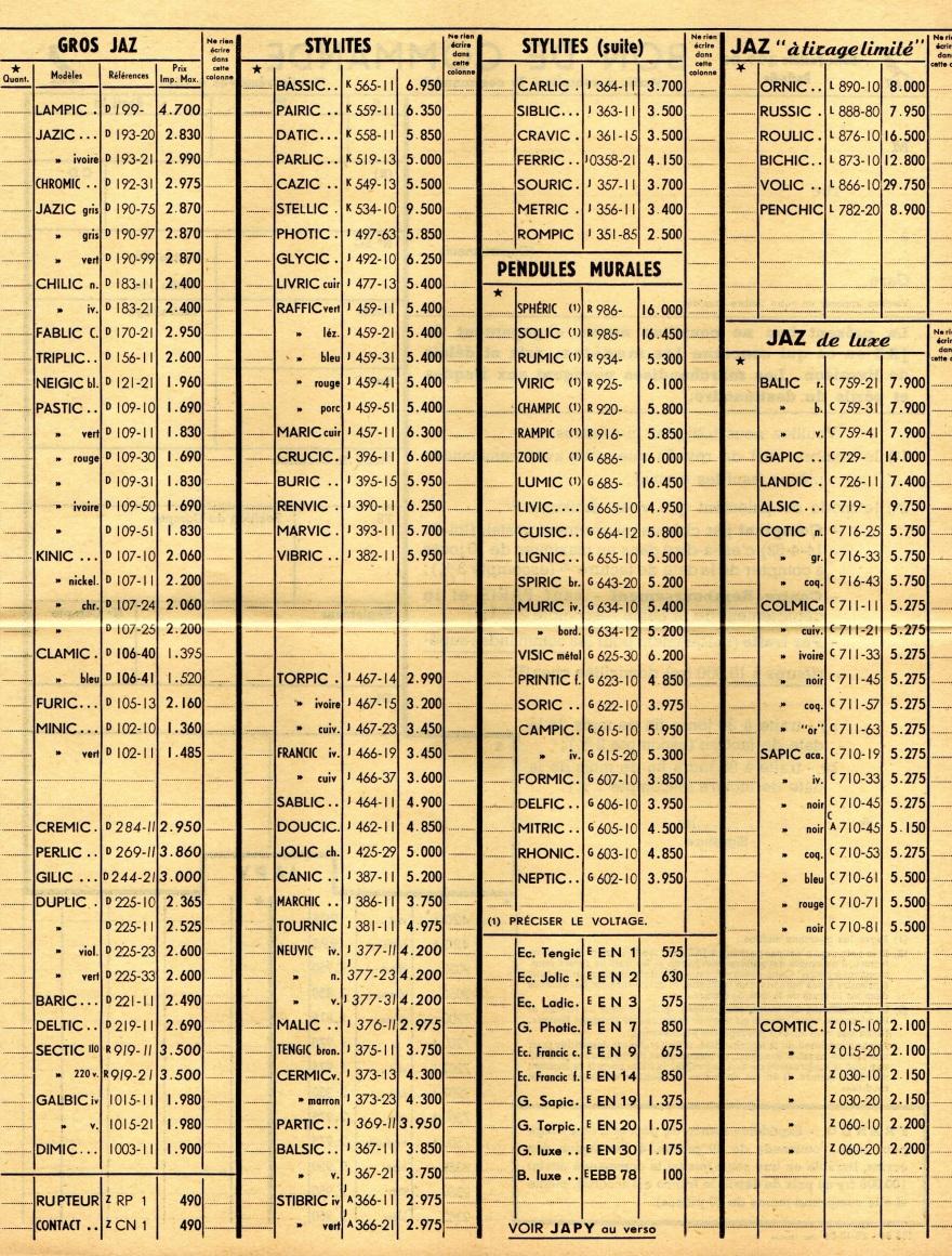 1954 bon de commande du tarif FA 54 février 1955 page J