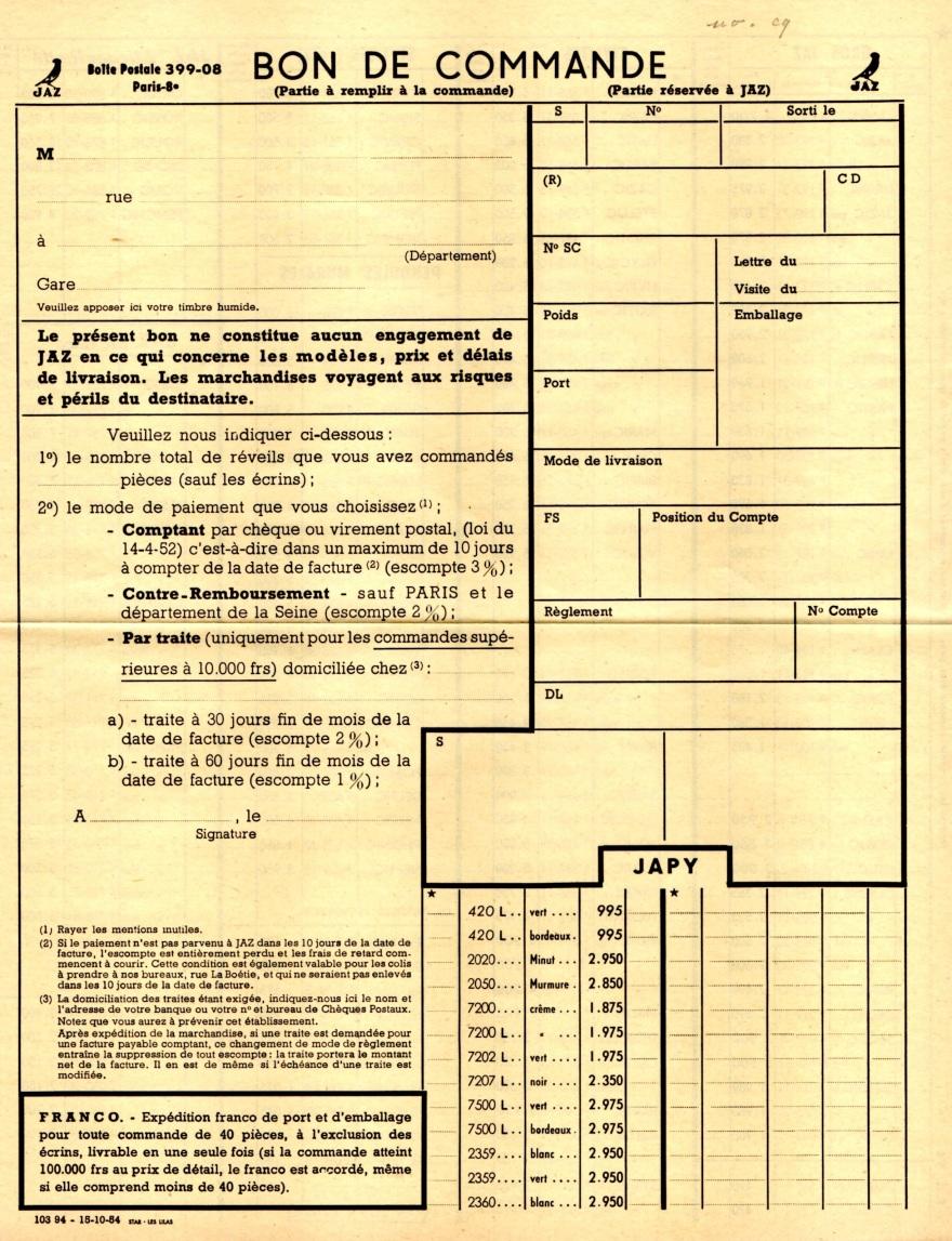 1954 bon de commande du tarif FA 54 octobre 1954