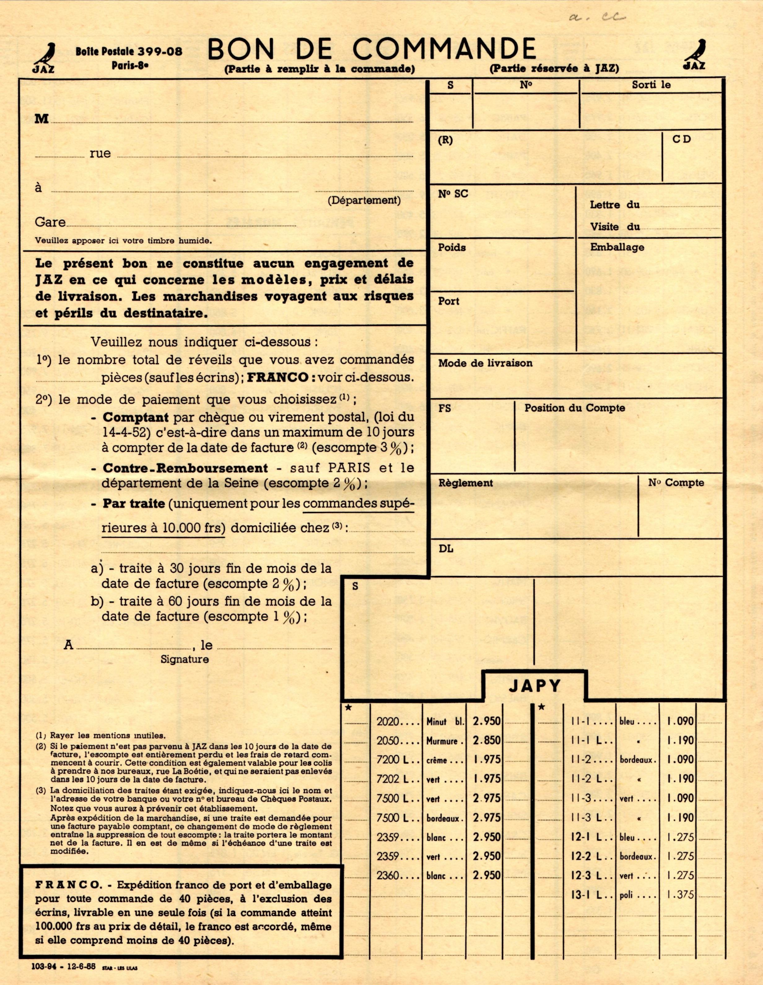 1955 bon de commande du tarif FA 55 juin 1955