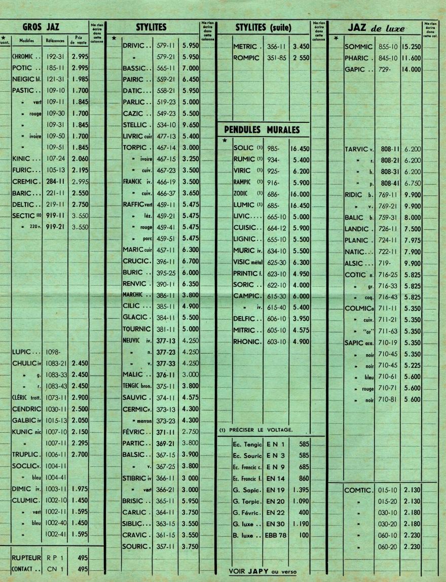 1955 bon de commande Tarif FB 55 octobre 1955 page J