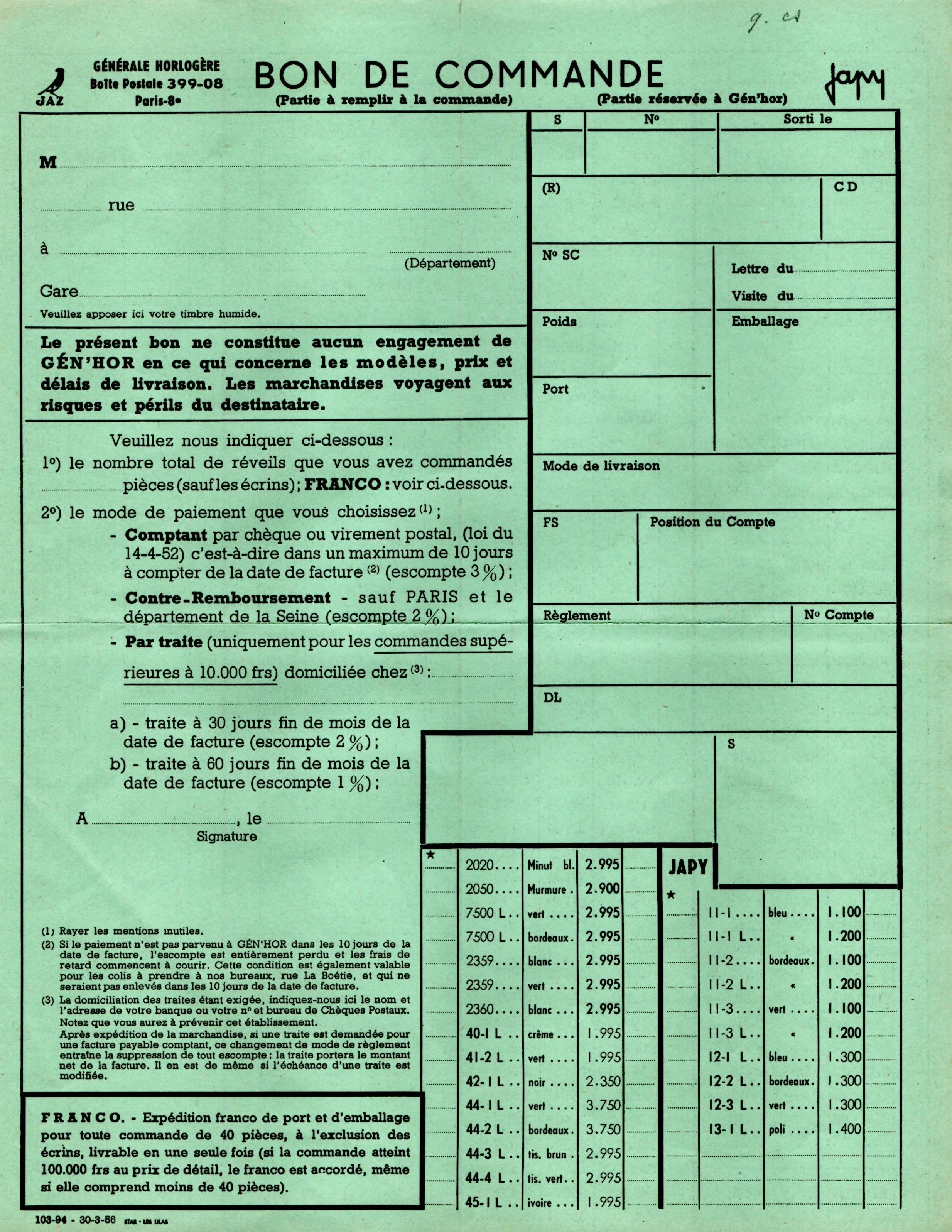 1955 bon de commande Tarif FB 55mars 1956