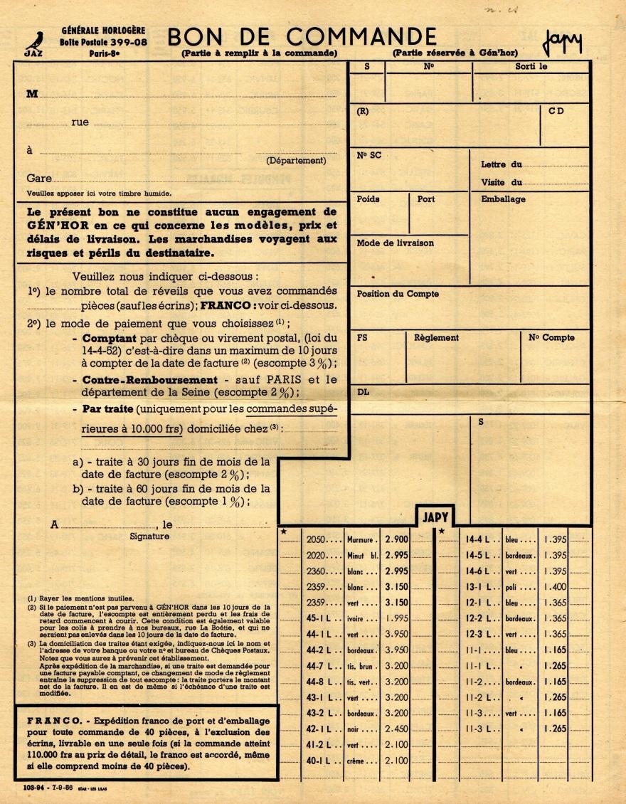 1956 bon de commande tarif FA 56 page 1