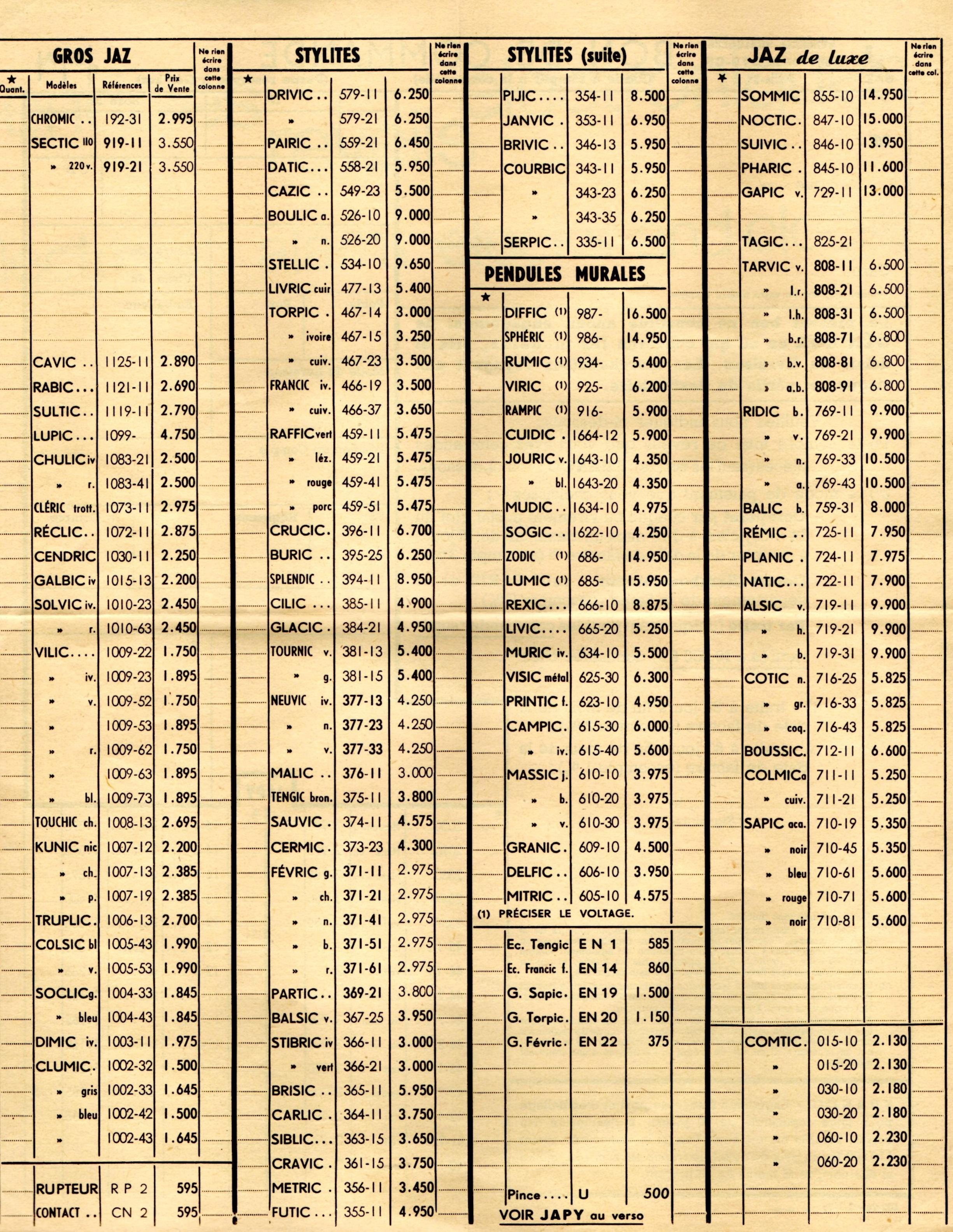 1956 bon de commande tarif FA 56 page a