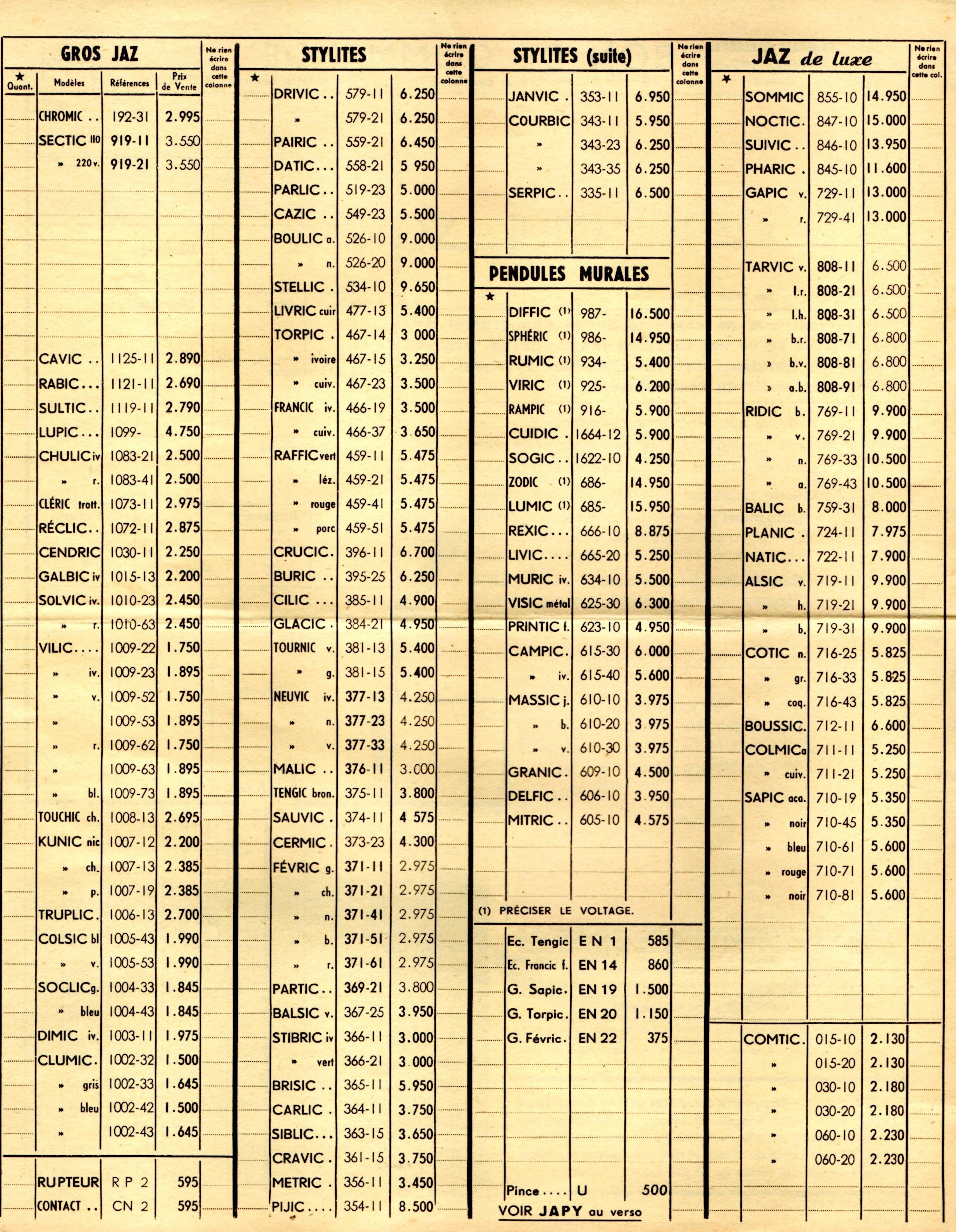 1956 bon de commande tarif FA 56 page c