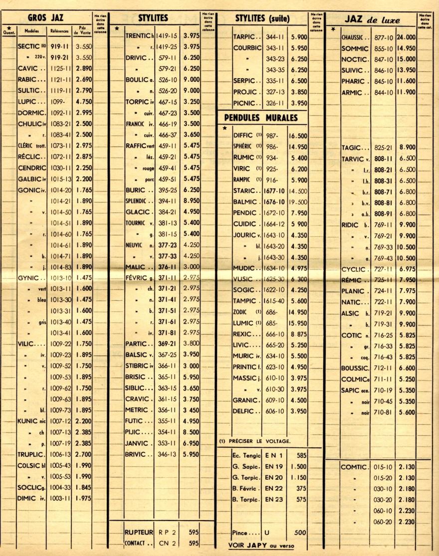 1956 bon de commande tarif FA 56 page v