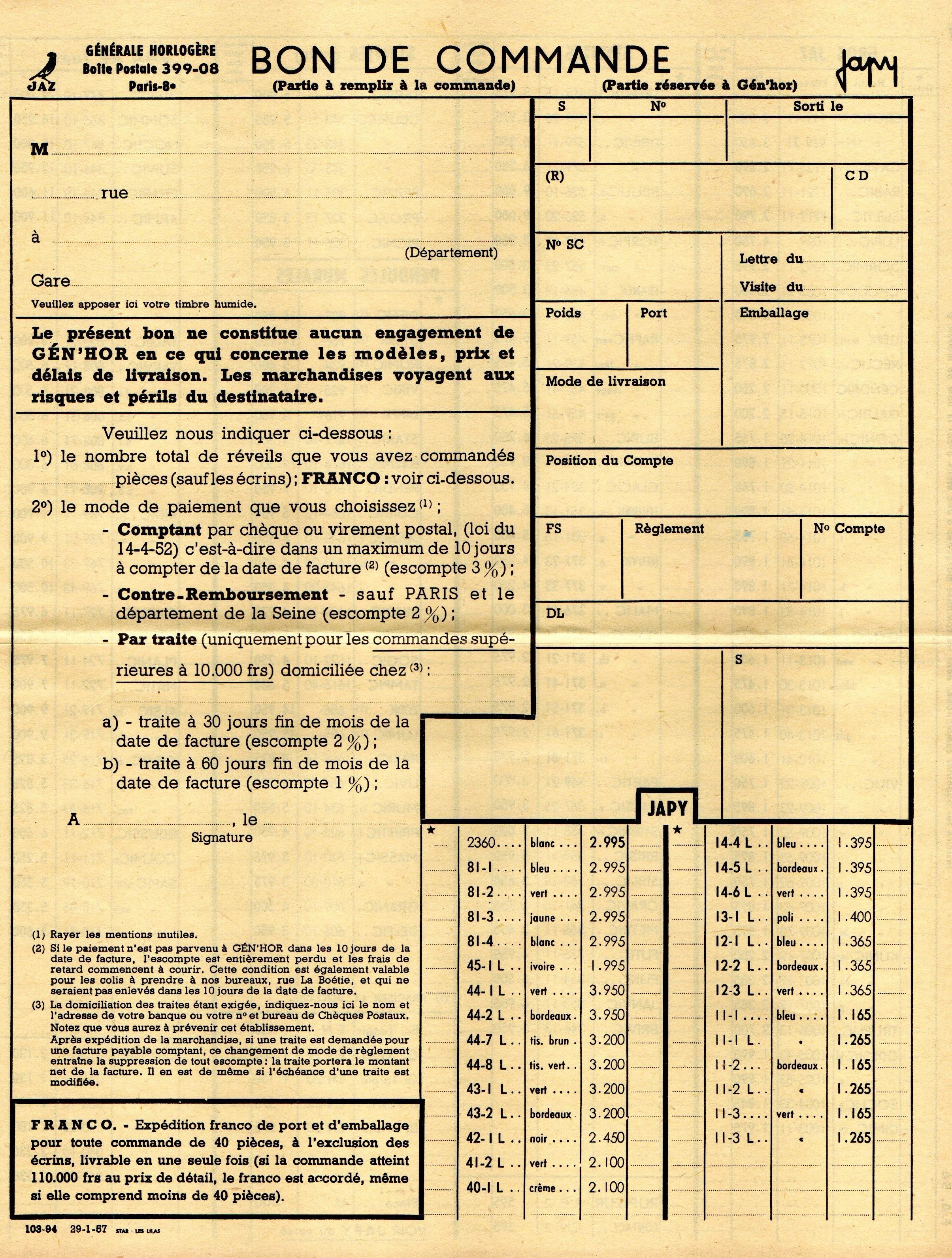 1957 bon de commande Janvier 1957 page 1