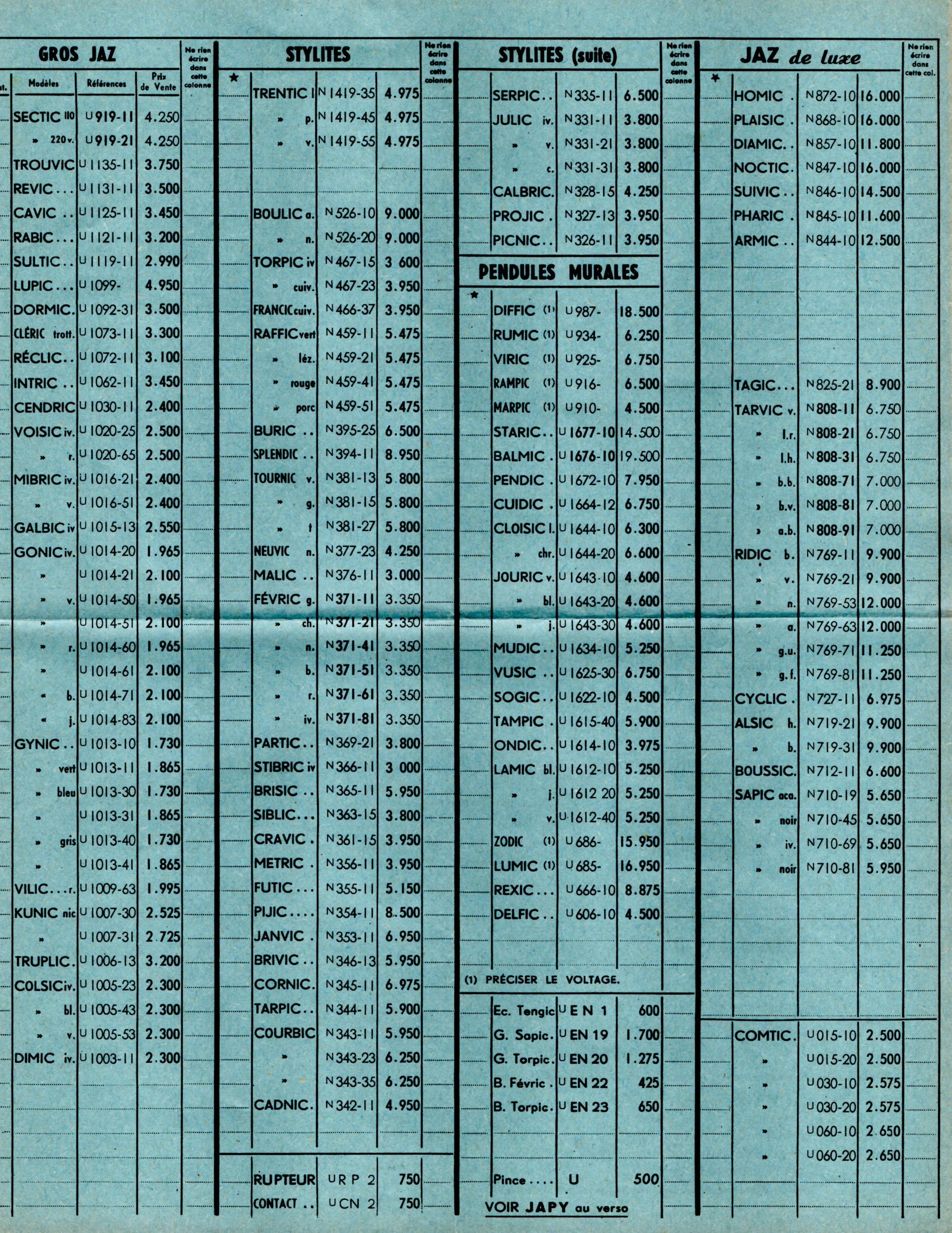 1957 bon de commande tarif FA 57 juillet 1957 page 2