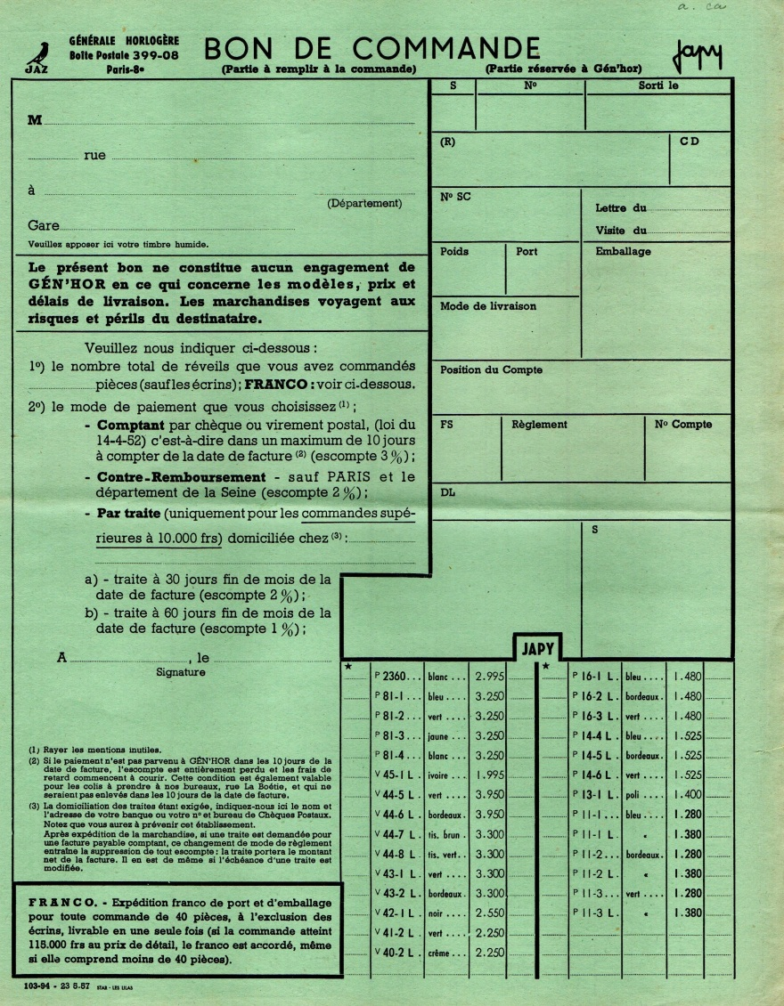 1957 bon de commande tarif FA 57 Mai 1957 page 1