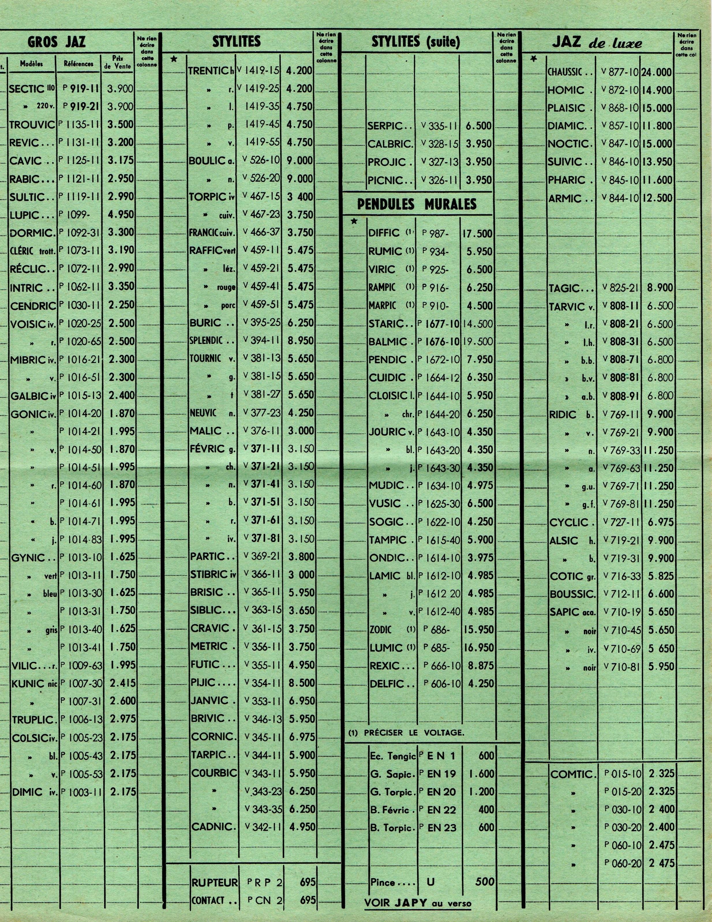 1957 bon de commande tarif FA 57 Mai 1957 page c