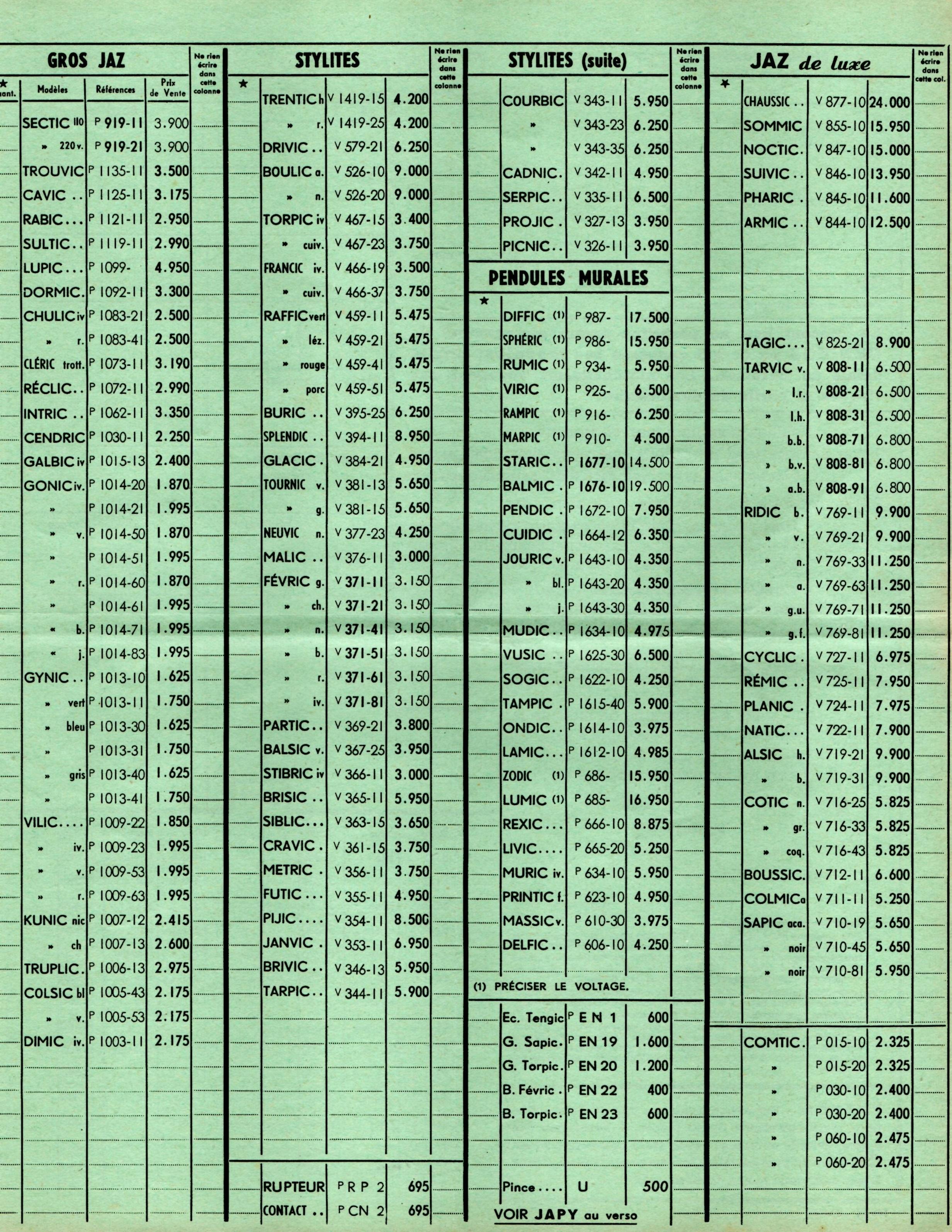 1957 bon de commande tarif FA Mars 1957 page t