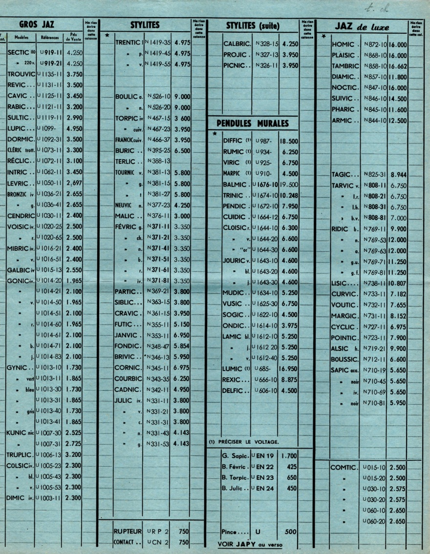 1957 bon de commande tarif FB 57 janvier 1958 page 1