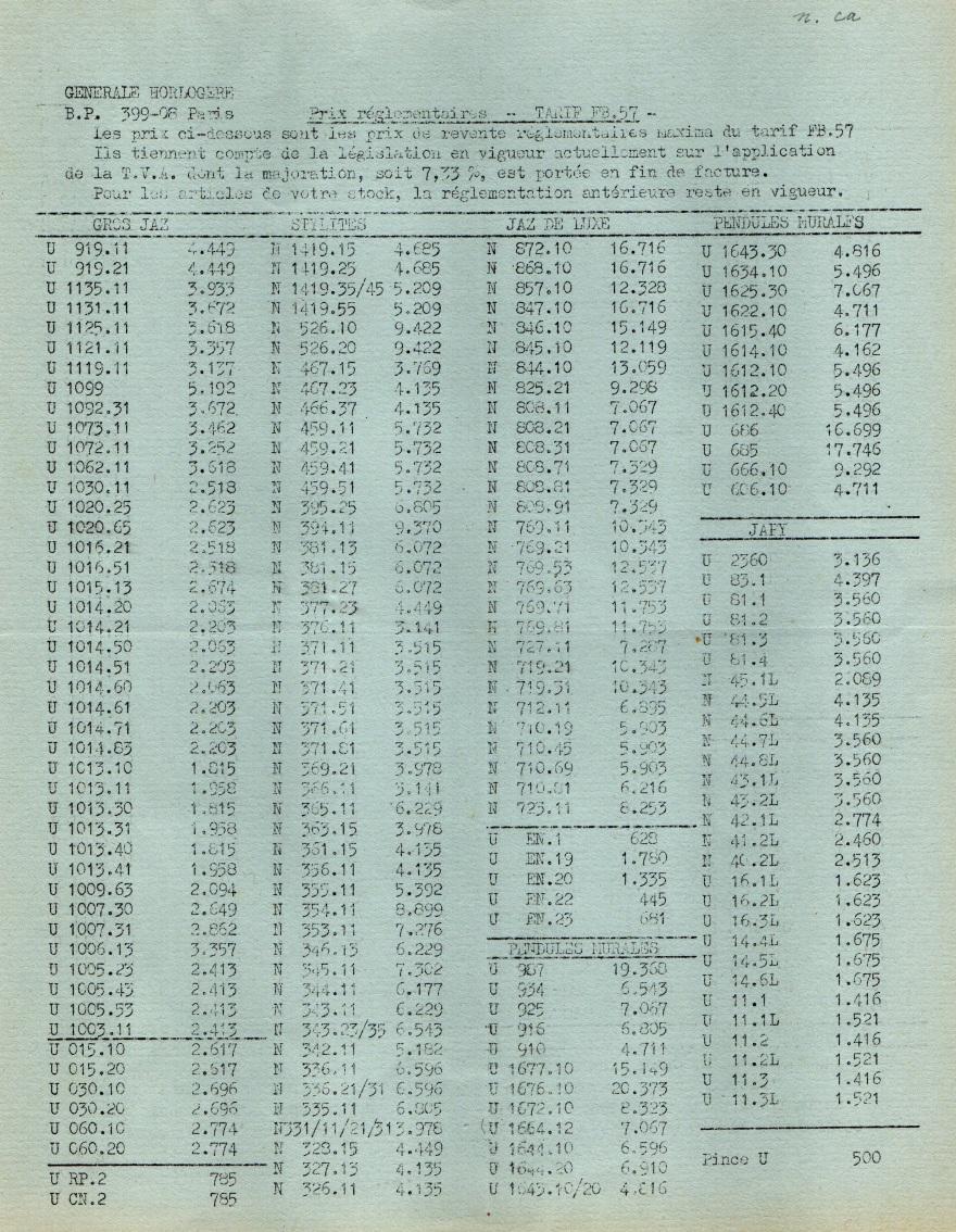 1957 tarif FB 57