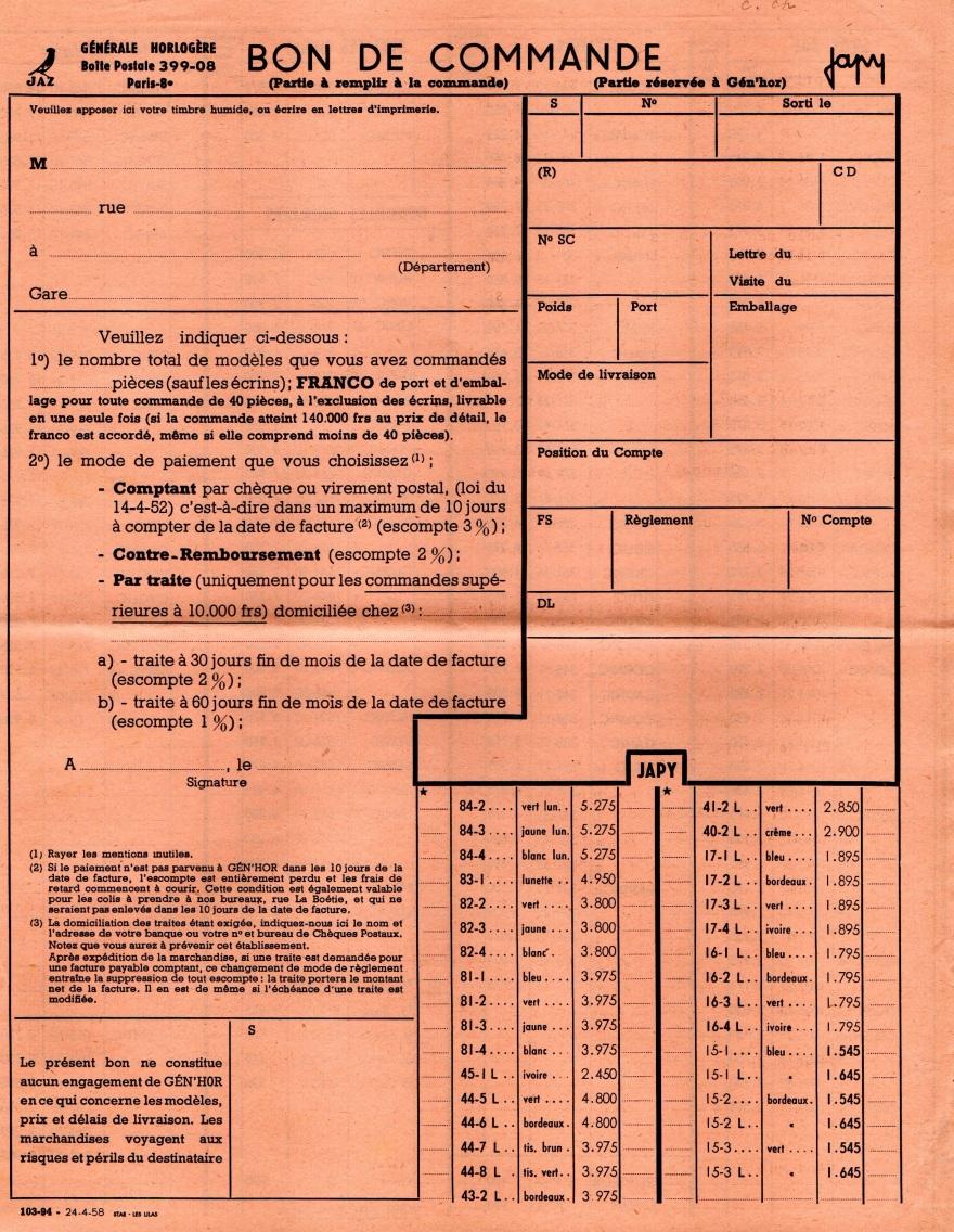 1958 bon de commande avril 1958 page 1