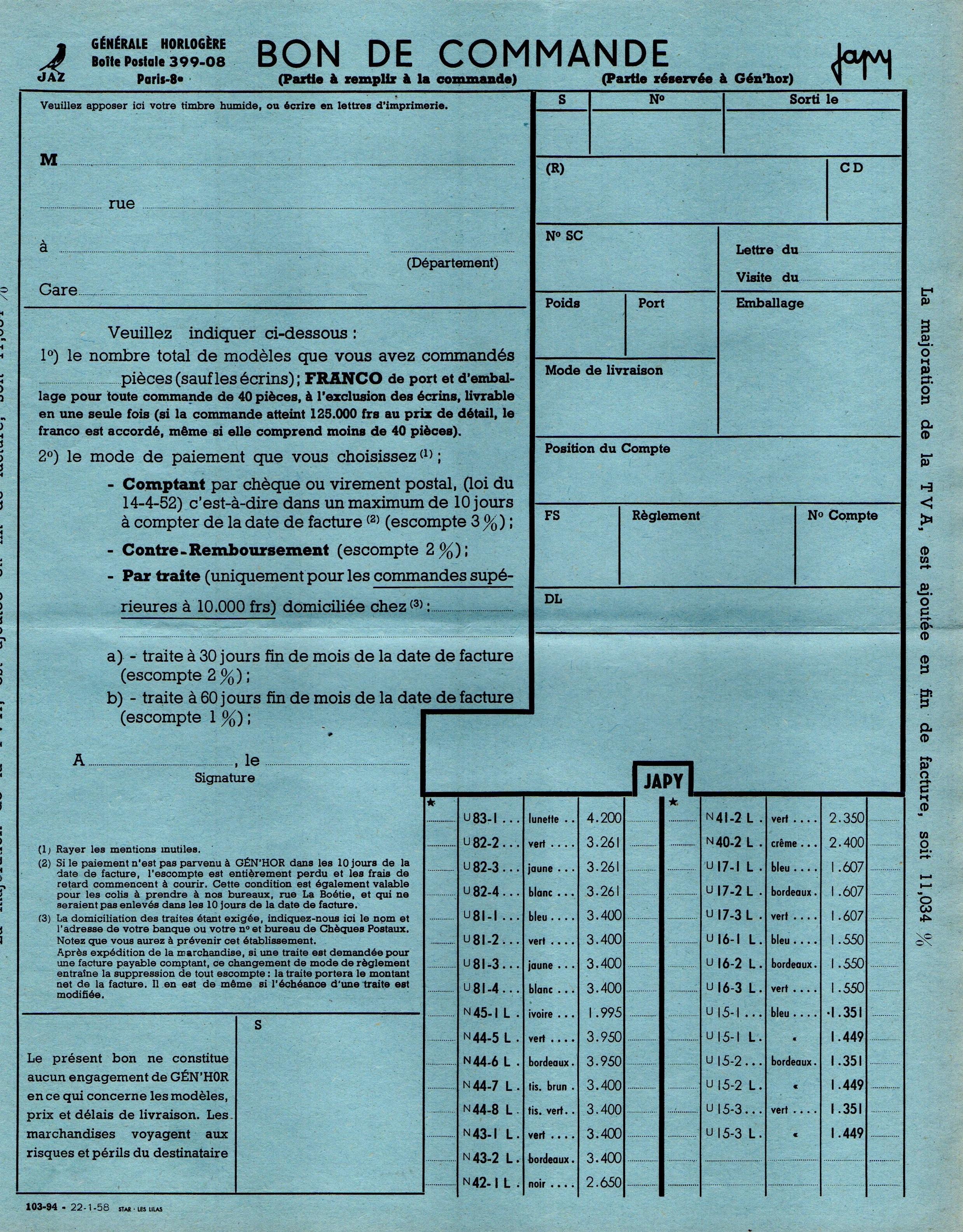 1958 bon de commande Janvier 1958 page 1