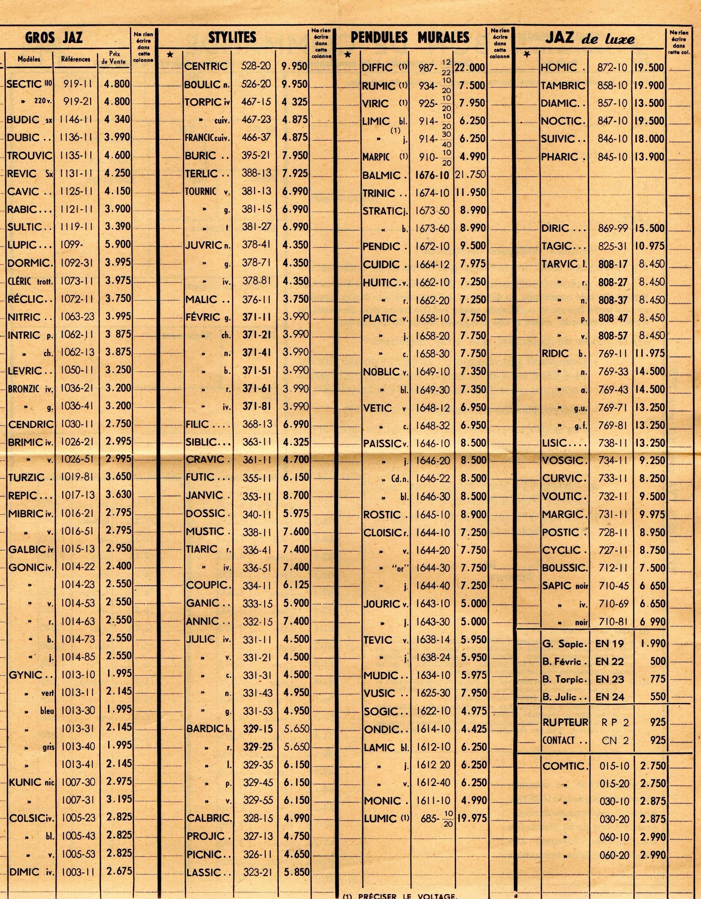 1958 bon de commande tarif FC 58 Janvier 1959 page 2