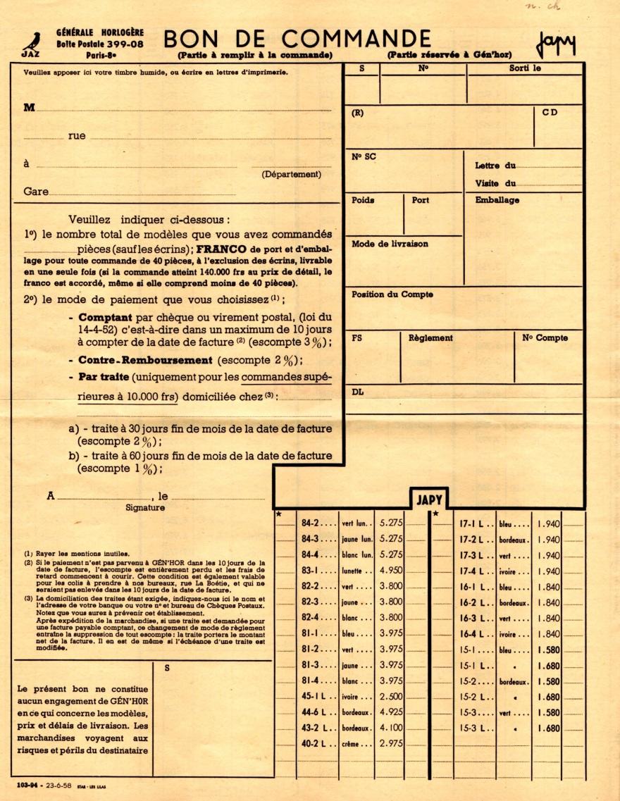 1958 bon de commande tarif FC 58 Juin 1958 jpg