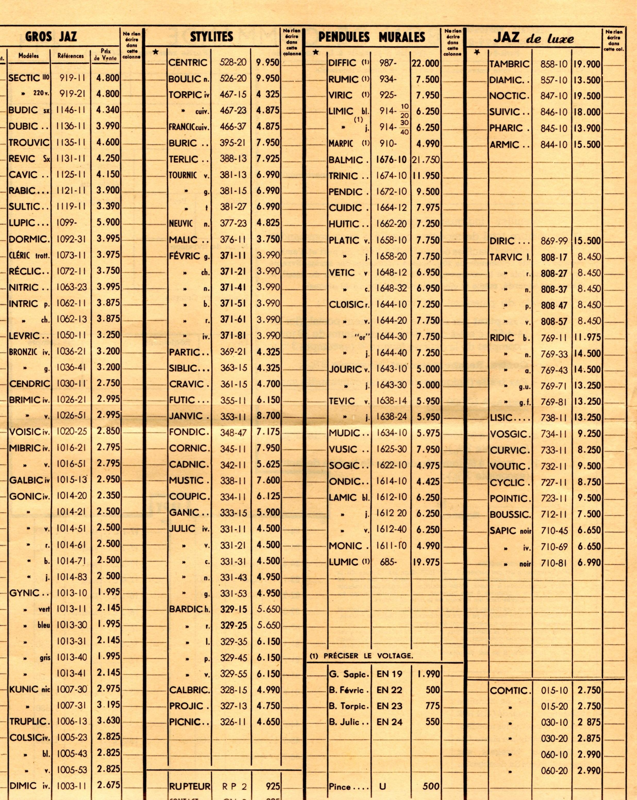 1958 bon de commande tarif FC 58 Juin 1958 page 1